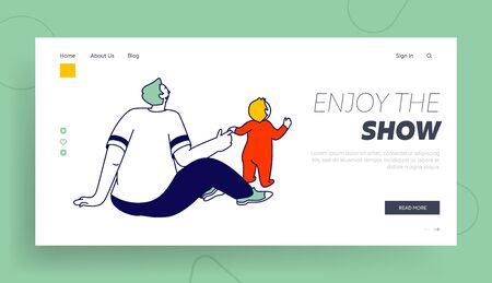 Father Walk Together with Child on Weekend Website Landing Page. Happy Family of Little Toddler Boy with Dad Having Fun Watching Puppet Show Web Page Banner. Cartoon Flat Vector Illustration, Line Art