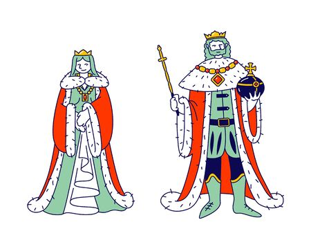 Medieval Royal Family Members King and Queen in Costumes Isolated on White Background, Ancient Historical Kingdom Persons or Fairy Tale Fantasy Characters Cartoon Flat Vector Illustration, Line Art Stock Illustratie