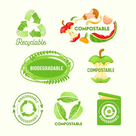 Set of Environmental Labels, Recyclable Triangle Sign, Compostable Waste, Biodegradable Garbage Litter Bin.