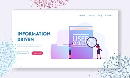 User Manual, Guide Book or Technical Instruction Website Landing Page. Tiny Girls Looking through Magnifying Glass and Spyglass on Huge Users Tutorial Web Page Banner. Cartoon Flat Vector Illustration