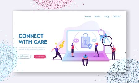 Information Defend Website Landing Page. Sad Man Forgot Password Sitting at Huge Laptop with Padlock and Shield on Screen, Lost Account Pin Code Web Page Banner. Cartoon Flat Vector Illustration