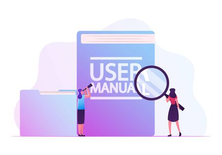User Manual, Guide Book or Technical Instruction Concept. Tiny Girls Looking through Magnifying Glass and Spyglass on Huge Handbook with Guidance and Users Tutorials Cartoon Flat Vector Illustration