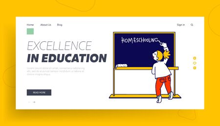 Education and Getting Knowledge at Home Website Landing Page. Little Girl Writing Word Homeschooling on Chalkboard in Class. Distant Learning Web Page Banner Cartoon Flat Vector Illustration, Line Art 일러스트