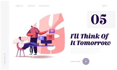 Procrastination Website Landing Page. Boss Yelling on Procrastinating Lazy Businesswoman Employee Sleeping at Workplace with Legs on Office Desk Web Page Banner. Cartoon Flat Vector Illustration 일러스트