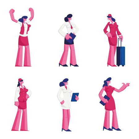 Set Female Characters of Different Professions Wearing Uniform. Air Hostess, Waiter Doctor in White Robe, Sexy Lady Posing in Red Dress Isolated on White Background Cartoon Flat Vector Illustration