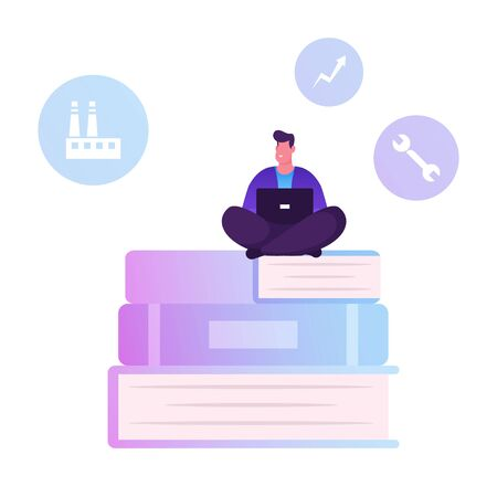 Users Manual Brochure, FAQ Concept. Man Sitting on Huge Pile of Books with Laptop Writing Manual Guidance Book. Customer Support Center Worker Help Clients Online, Cartoon Flat Vector Illustration