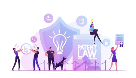 Patent Law Concept. People Protecting their Rights for Authorship and Creation of Different Mental Products. Safeguard with Dog Stand near Huge Shield with Lamp Icon Cartoon Flat Vector Illustration Vetores