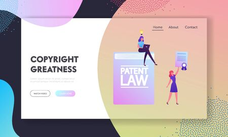 Exclusive Rights Website Landing Page. Woman Sitting on Huge Patent Law Book with Glowing Light Bulb over Head. Girl Holding Copyright Certificate Web Page Banner. Cartoon Flat Vector Illustration