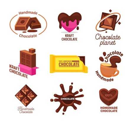 Big Collection of Kraft Handmade and Homemade Chocolate Candies and Drink Logo Design. Different Shapes and Kinds of Choco Sweets Emblems in Cartoon Style and Isometric Projection Vector Illustration 일러스트