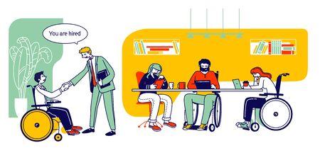 Personas con discapacidad que trabajan en la oficina. Hombre discapacitado estrechándole la mano a su colega en el lugar de trabajo. Mujer de negocios, sentado, en, silla de ruedas, trabajo, en, computadora portátil, con, socio, caricatura, plano, vector, ilustración, arte lineal Ilustración de vector
