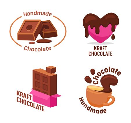 Set of Kraft Handmade Chocolate, Candies and Drink Collection. Different Shapes and Kinds of Choco Sweets Isolated on White Background. Cartoon Style and Isometric Projection Vector Illustration