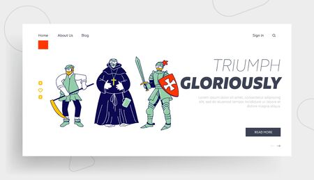 Medieval Characters Website Landing Page. Peasant Fat Monk Knight Wear Armor and Sword Brave Warrior Crusader. Historical Fairy Tale Actors Web Page Banner. Cartoon Flat Vector Illustration, Line Art