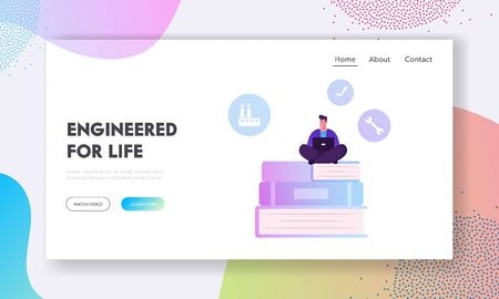 Website Landing Page. Users Manual Brochure, FAQ Concept. Man Sitting on Huge Pile of Books with Laptop Writing Manual Guidance Book. Clients Help Web Page Banner. Cartoon Flat Vector Illustration