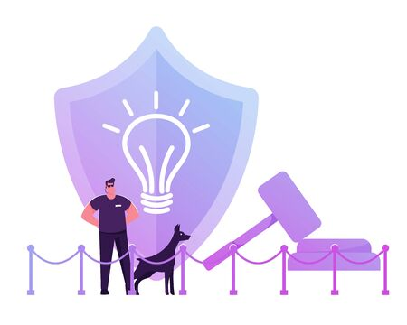 Security Man Wearing Sunglasses and Dark Clothing Stand with Doberman Dog at Huge Shield with Icon of Glowing Light Bulb and Gavel Protecting Patent Law and Authorship Cartoon Flat Vector Illustration