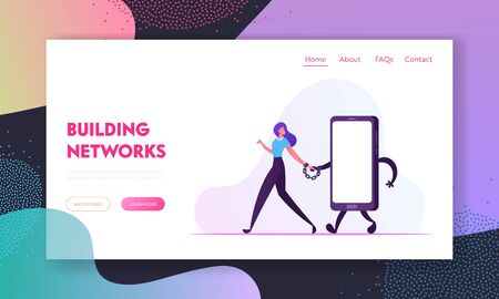 Gadget and Networking Addiction Website Landing Page. Woman Walking with Huge Smartphone Tied with Handcuffs Hand by Hand Teenager Dangerous Habit Web Page Banner. Cartoon Flat Vector Illustration