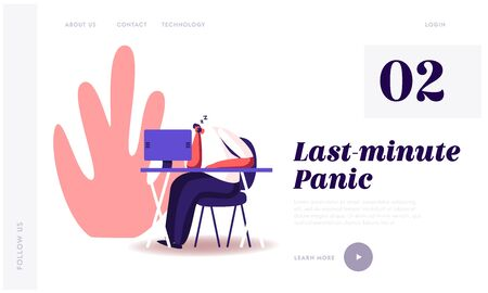 Procrastination, Overwork Burnout Symptom Website Landing Page. Lazy or Tired Overload Businessman with Low Life Energy Sleeping at Working Place Web Page Banner. Cartoon Flat Vector Illustration