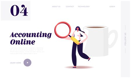 Auditing Research and Data Analysis Website Landing Page. Woman Auditor Holding Huge Magnifying Glass During Examination of Financial Report, Audit Web Page Banner. Cartoon Flat Vector Illustration 일러스트