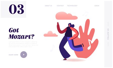 Young Woman Listen Music Dancing on Disco Party Website Landing Page. Happy Girl Spending Time Moving to Sound Rhythm Happy Leisure and Sparetime Web Page Banner. Cartoon Flat Vector Illustration