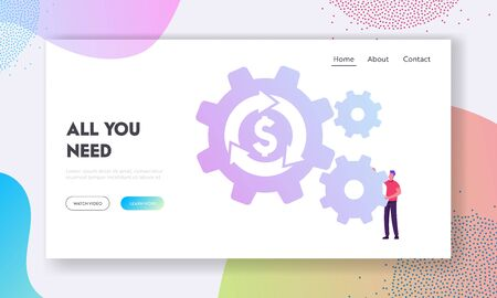 Currency Exchange, Return on Investment, Insurance, Loan Refinance Website Landing Page. Businessman Rolling Cogwheel with Dollar Sign and Loop Arrow Web Page Banner. Cartoon Flat Vector Illustration
