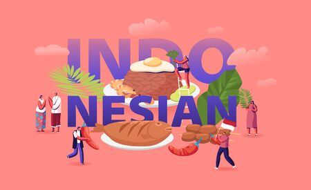 Indonesian Cuisine Concept. Tiny Male and Female Characters Tourists and Native Dwellers Eating and Cooking Traditional Malaysian Meals Poster Banner Flyer Brochure. Cartoon Flat Vector Illustration