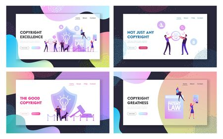 Invention or Idea Copyright Protection Website Landing Page Set. Security Stand near Huge Shield with Lamp Icon and Gavel, People Study Patent Law Web Page Banner. Cartoon Flat Vector Illustration