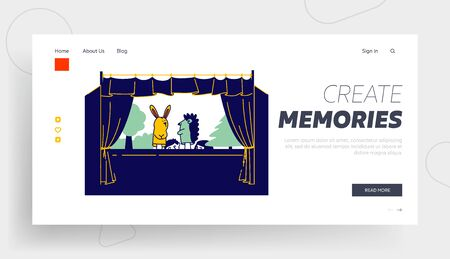 Artist Performing Puppet Show Website Landing Page. Theater Performance for Children, Happy Family Recreation and Amusement Spare Time Web Page Banner. Cartoon Flat Vector Illustration, Line Art
