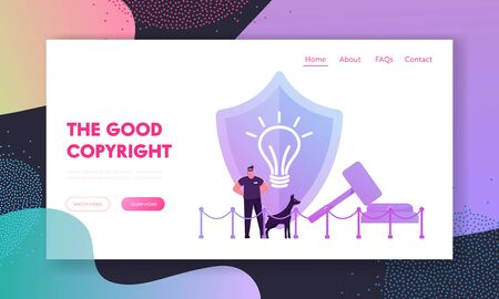 Patent Law and Authorship Website Landing Page. Security Man with Doberman Dog at Huge Shield with Icon of Light Bulb and Gavel Protecting Copyright Web Page Banner. Cartoon Flat Vector Illustration