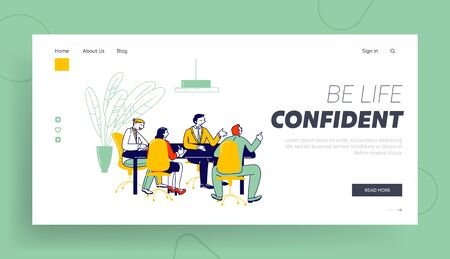 Businesspeople Board Meeting Website Landing Page. Businessmen and Businesswomen Discussing Company Strategy and Get Financial Consultation Web Page Banner. Cartoon Flat Vector Illustration, Line Art
