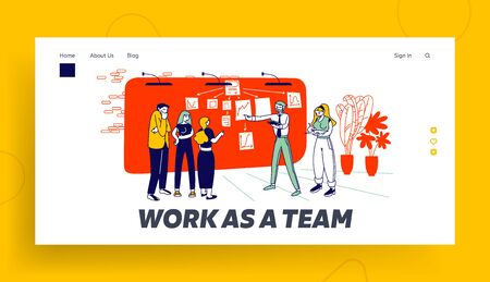 Project Management at Scrum Task Board Website Landing Page. Business Man Explain Working Plan Pointing Graphs and Stick Notes on Workwall Web Page Banner. Cartoon Flat Vector Illustration, Line Art Vettoriali