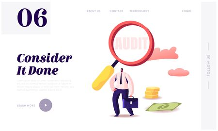Business Audit Investigation Website Landing Page. Businessman with Magnifying Glass Research Income Statement, Make Database Financial Planning Report Web Page Banner Cartoon Flat Vector Illustration