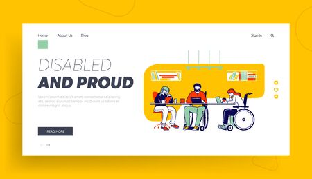 Disability, Disabled Persons Employment Website Landing Page. Handicapped Employees and Healthy Office Worker Sitting Together at Workplace Web Page Banner. Cartoon Flat Vector Illustration, Line Art 일러스트