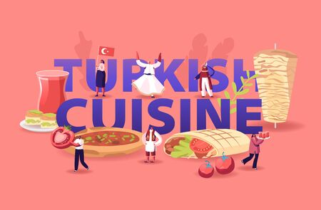 Turkish Cuisine Concept. Tiny Male and Female Characters Tourists and Native Dwellers Eating and Cooking Traditional Turkey Meal Shawarma Poster Banner Flyer Brochure. Cartoon Flat Vector Illustration