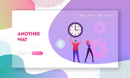Time is Money, Loan Refinance and Return on Investment Website Landing Page. Businessman Holding Huge Clock. Business Woman Moving Cogwheels Mechanism Web Page Banner. Cartoon Flat Vector Illustration 일러스트