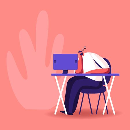 Procrastination, Overwork Burnout Symptom Concept. Lazy or Tired Overload Businessman with Low Life Energy Power Sleeping at Working Place Lying on Desk with Computer Cartoon Flat Vector Illustration