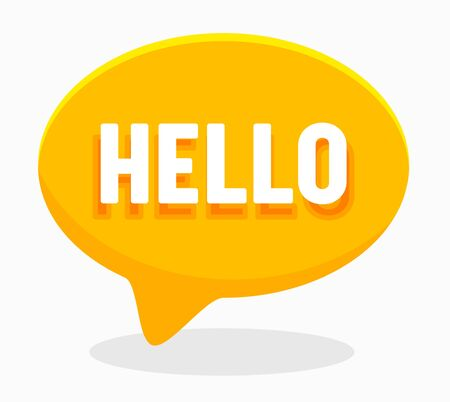 Hello Word on English Language in Yellow Speech Bubble Isolated on White Background. Translation Agency Service or Education Courses Poster Banner Flyer Brochure. Cartoon Flat Vector Illustration
