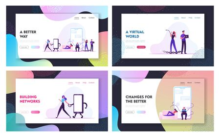 Internet Addiction, People Living in Virtual World Website Landing Page Set. Men and Women Having Gadgets Dependency Bind to Devices with Metal Chain Web Page Banner. Cartoon Flat Vector Illustration
