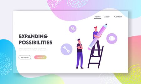 User Manual Tutorial Website Landing Page. Man Stand on Ladder with Huge Pencil and Customer Support Icons around Writing Technical Guidebook Booklet Web Page Banner. Cartoon Flat Vector Illustration  イラスト・ベクター素材
