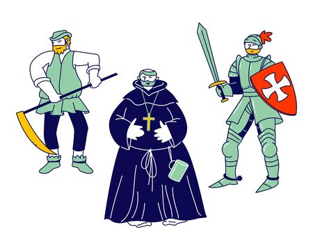 Set of Medieval Characters Peasant, Fat Monk, Knight Wearing Armor and Sword Brave Warrior Crusader Isolated on White Background. Historical Fairy Tale Actors Cartoon Flat Vector Illustration Line Art