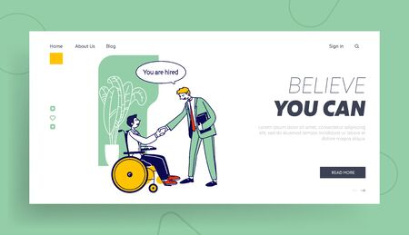 Disability Employment, Work for Disabled People Website Landing Page. Handicapped Man Sit in Wheelchair Shaking Hand with Colleague in Office Web Page Banner. Cartoon Flat Vector Illustration Line Art 일러스트