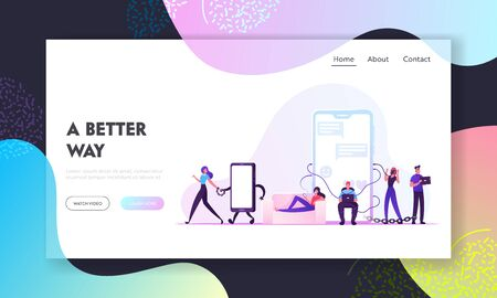 Social Media Addiction Website Landing Page. Characters Bounded with Gadgets, Woman Tied with Metal Chain to Mobile Phone, Internet Addicted People. Web Page Banner. Cartoon Flat Vector Illustration