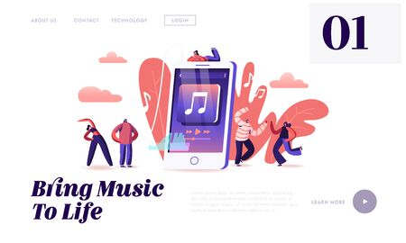 Mobile Application for Listening Music Website Landing Page. People Listen Music on Phone. Characters Enjoying Sound Composition, Dancing Exercising Web Page Banner. Cartoon Flat Vector Illustration