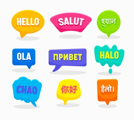 Set Speech Bubbles Hello Word in Different Languages English Chinese Spanish Russian Bengali Hindi Indonesian French Italian Isolated on White Background. Colorful Labels, Icons Vector Illustration 일러스트