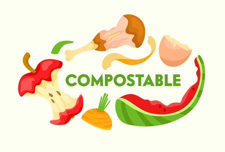 Compostable Vegetable, Fruit and Meat Kitchen Scraps on White Background. Organic Waste for Domestic Composting Parings and Peelings for Poster Banner Flyer Brochure. Cartoon Flat Vector Illustration
