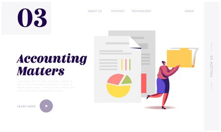 Audit Analysis Inspection Website Landing Page. Woman with Files Folder Analysing Accounting Data, Earnings Savings, Loan and Credit Spreadsheets Web Page Banner. Cartoon Flat Vector Illustration