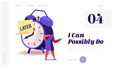 Procrastination, Delay Bad Time Management Website Landing Page. Angry Businesswoman Stand at Huge Alarm Clock with Sticky Note with Word Later on Dial Web Page Banner Cartoon Flat Vector Illustration