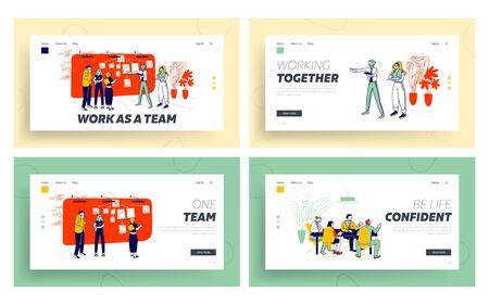 Teamwork Collaboration Website Landing Page Set. Manager Employees Communicate Create Strategy of Goal Achievement near Workwall Organizer Web Page Banner. Cartoon Flat Vector Illustration, Line Art 일러스트