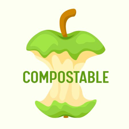 Compostable Waste Concept. Organic Trash, Food Compost with Apple Stump Isolated on White Background. Ecological Fertilizer Ad Poster Banner Flyer Brochure. Cartoon Flat Vector Illustration