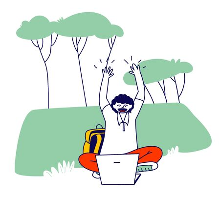 Young Man Student Nerd Character in Glasses Work on Laptop Sitting on Grass at College Yard Nature Background 일러스트