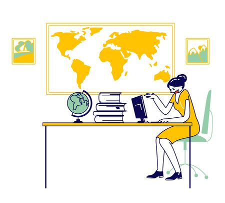 Woman Agent in Travel Agency Sitting at Table with Guides and Globe Looking on Computer Monitor Searching Hot Tour for Proposal to Clients. Traveling Service Cartoon Flat Vector Illustration, Line Art 일러스트