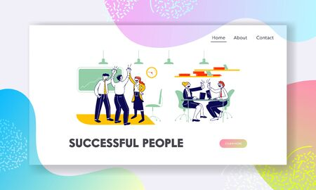 Managers Team Contract Signing Website Landing Page. Joyful Business People Teamwork Group Rejoice and Giving Highfive after Successful Deal Web Page Banner. Cartoon Flat Vector Illustration, Line Art